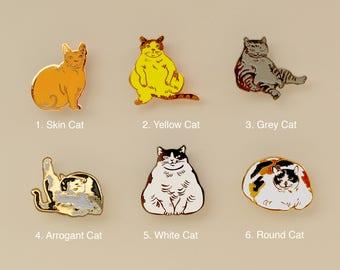Cats enamel pins-cat gifts-enamel pin-brooch-calicocat-fat cat-cat pin-silly pin-i like cat-horse fiddle press-gold pin-cats-cat lapel pin
