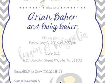 Grey and Yellow with Blue and Elephant Baby Shower Invitation