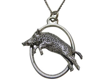 Running Razorback Wild Boar Large Oval Pendant Necklace