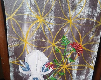 Skull & flower painting - untitled