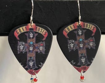 Hand made Guns 'N' Roses guitar pick earrings