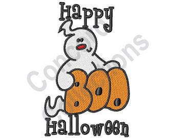 Halloween - Machine Embroidery Design, Happy Halloween, Ghost, Boo