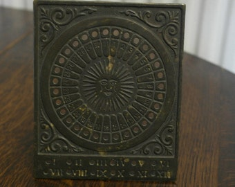 antique brass desk calendar
