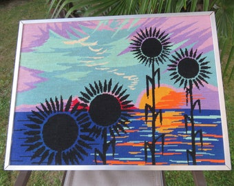grand canevas tapisserie tournesols coucher du soleil made in France typique 1970 70's mid century French vintage canvas tapestry