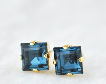 Navy Blue Studs Emerald Cut Square Solitare Stud Earrings Swarovski Crystal Montana Vintage Step Cut 10mm Square Earrings Navy Bride Bridal