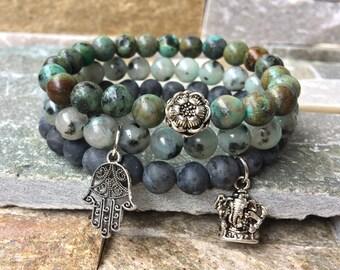 Hamsa Lotus Ganesha set Jasper Larvikitt turquoise mala/bracelet