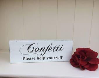 Free Standing Wooden  Shabby Chic Wedding/ Wedding Venue Decoration/Wedding Prop - Confetti Sign