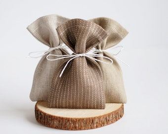 Fabric favor bags, linen pouches, wedding favor bag, brown gift bags, set of 8 pouches, wedding pouch, thank you bags, birthday gifts bags