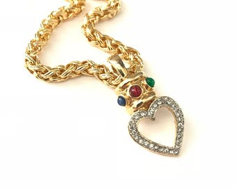 Gorgeous Vintage Gold Plated Necklace with Etruscan Inspired Jeweled Heart Pendant