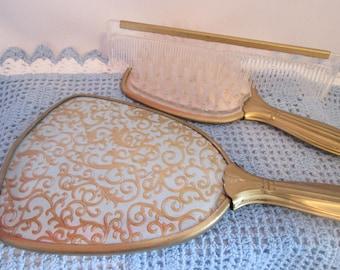 Vintage set mirror, brush, comb / Vintage Mirror, Brush, Comb set