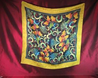 1990 Signed Designer Jacquard Weave Silk Scarf with Bold Floral Design