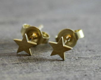 5mm Star 14kt yellow gold Stud Earrings