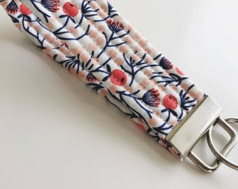 Floral Key Fob, Quilted Key Fob, Fabric Key Fob, Wristlet Key Chain for Women, Teacher Gifts, Gift Under Ten