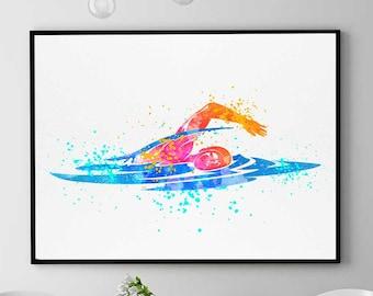 Swimming Pool Art, Swimming Gift, Watercolor Print, Sports Decor, Swim Wall Art, Home Decor Wall Art