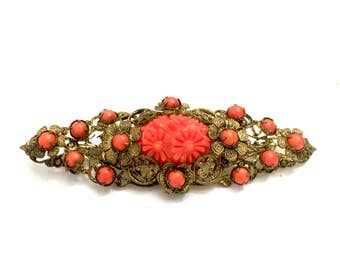 Coral Floral Bar Brooch, Coral Acrylic Cabs & Large Molded Floral Centerpiece, Gold Tone Filigree, Floriated Design, Vintage Gift for Her