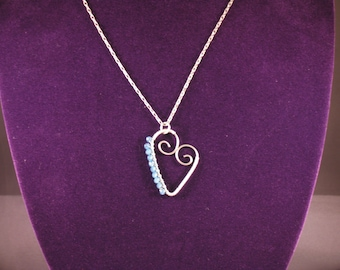 Blue Wire Heart Pendant with Chain
