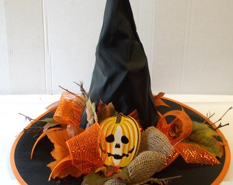 Orange Black Jack-o-lantern Witch Hat Burlap Centerpiece Halloween Decor OOAK