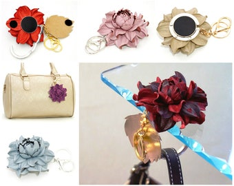 Make Your Own 2in1 Table Purse Hanger Hook / Flower BAG CHARM: Folding table bag hanger holder, purse hook & leather rose flower purse charm
