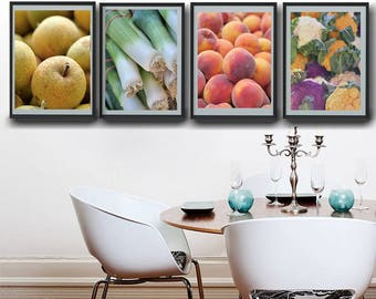 Dine room wall art, kitchen wall decor, dining room wall decor, vertical prints, fruit and vegetable prints set of 4 wall art pictures
