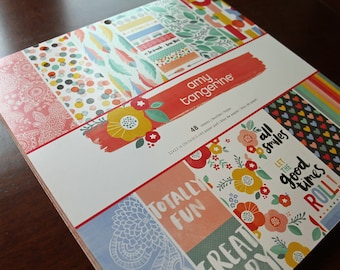 CLEARANCE!! Amy Tangerine 12x12 Paper Stack Pack by American Crafts New Detash 48 Sheets Each Girl Teenager Garden Flowers