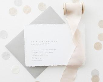Wedding Invitation Sample - Charlotte   Letterpress Wedding Invitations   Gray Wedding Invitations   Deckled Edging Invites   Torn Paper