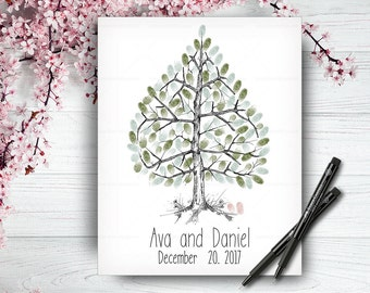Alternative Wedding Guest Book Tree, Wedding Guestbook, Custom Hand Drawn Fingerprint Tree, Wedding Keepsake, Original Handlettered Font
