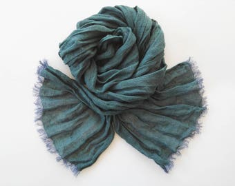 100% Linen Scarf, Blue Green Man Scarf Women Scarf, Pure Linen Scarf, Organic Natural Flax Scarf, Gauze Linen Scarf, Long scarf