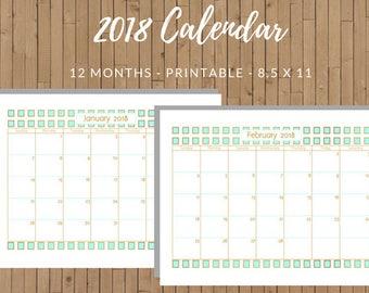 2018 - 12 Month Printable Calendar