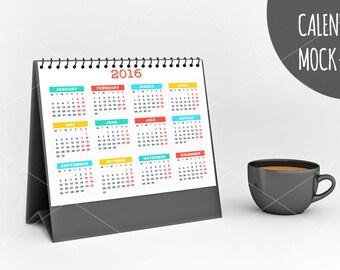 Calendar mockup, Desk calendar mockup, Calendar scene - Instant digital download