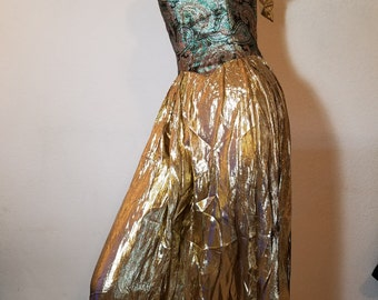FREE  SHIPPING  Vintage Gold Lame gown