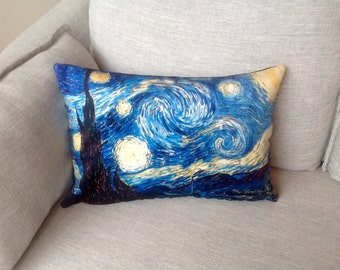 "vincent van gogh painting - 14"" x 20"" velveteen pillow case - starry night"
