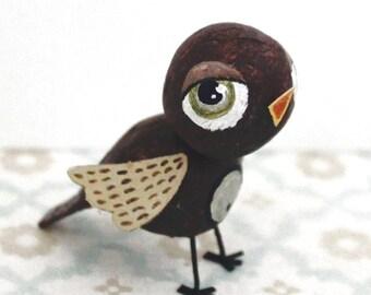 Mini bird Brown and beige