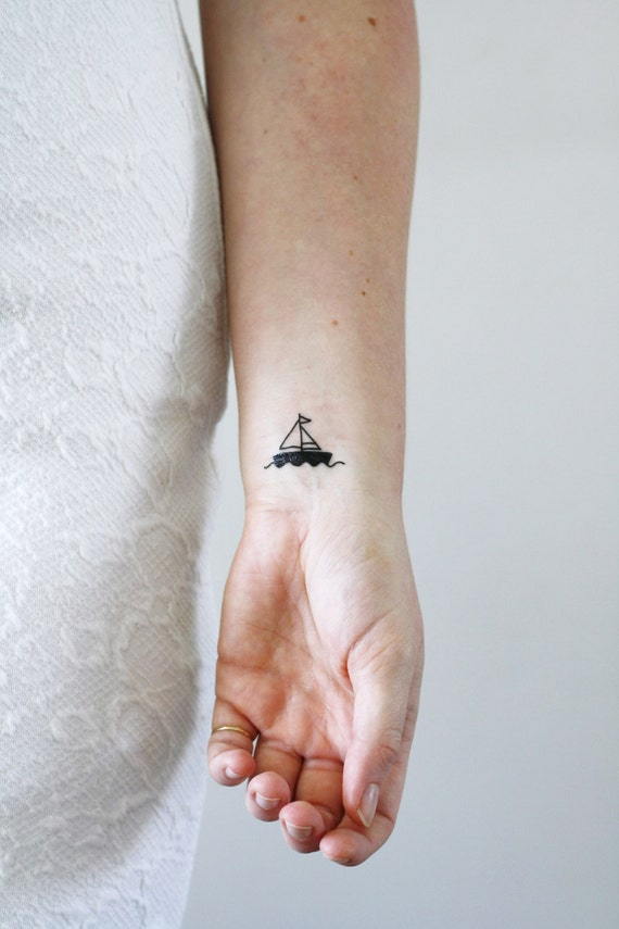 abbastanza 2 small boat temporary tattoos / ship temporary tattoo / EY92