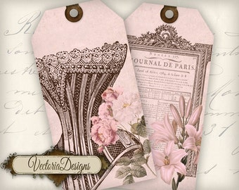 Paris Tags pink printable gift tags instant download digital Collage Sheet VD0385