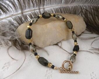 Men's Pyrite, Brass, and Golden Sheen Obsideon Bracelet