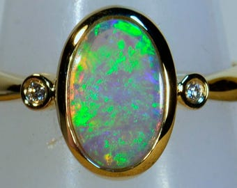 Massiv 18 k gold soliden schwarzen Kristall Opal & Diamant Kleid/Verlobungsring (14477)