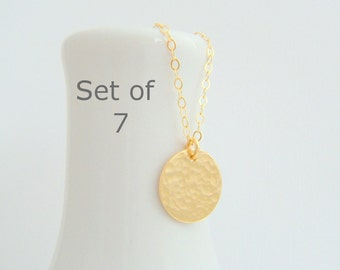 """bridesmaid necklaces. SET OF 7. small gold circle. hammered 14k gold filled. 14 k simple wedding jewelry. dainty delicate bridal gift. 1/2"""""""