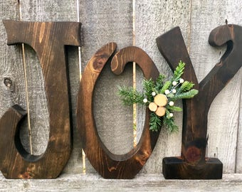 Christmas Decor Wood JOY Letters Christmas Mantle Decoration Large Wooden Letters Farmhouse Rustic Holiday Decor Christmas Gift Home Decor