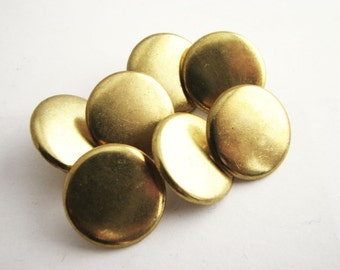 """Small plain gold tone metal buttons, 7 unused metal shank buttons, 16 mm / 5/8"""""""