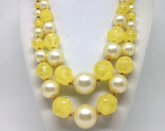 Vintage Estate Signed Hong Kong Lucite Beaded Necklace
