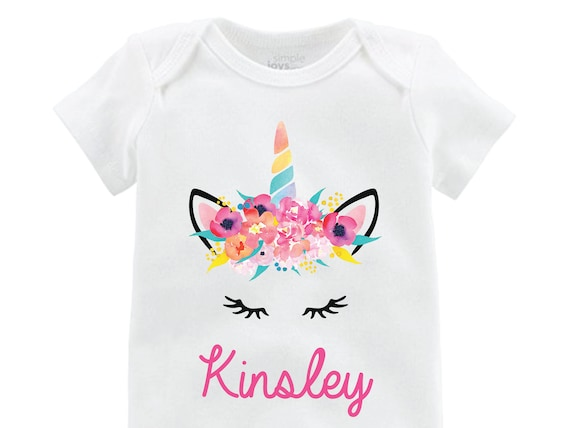Unicorn Face Onesie Personalized Onesie Flutter Sleeve Unicorn Shirt Black Raglan Birthday Shirt Girl Shirt Monogram Shirt Tropical Bright