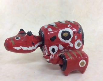 Vintage Akabeko Mother Baby Akabeko Red Cow Pair, Japanese Traditional Aizu Humorous Toy, JPCollectionHouse