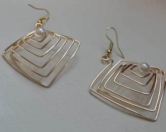 3 Dimensional Gold Wire Maze Gifts for her ,best selling product , Quirky jewelry