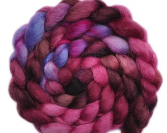 Hand painted wool roving - Teeswater combed top spinning fiber - 3.9 ounces - Unassailable Authority