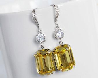 Handmade Light Yellow Swarovski Jonquil Emerald Cut Crystal & CZ Dangle Bridal Earrings, Bridal, Wedding (Sparkle-2522)