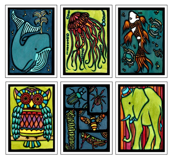 Unique Animal Collection - 6 Blank Greeting Cards - Whale, Jellyfish, Koi Fish, Owl, Insects, Elephant - Ocean, Safari - Fun Notecards