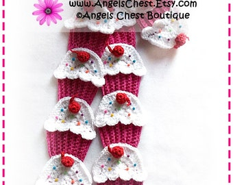 Crochet Yummy CUP CAKE Scarf PDF Pattern Boutique Design - No. 50 by AngelsChest