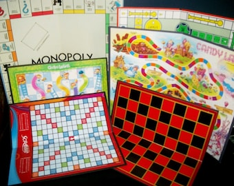 6 Vintage Game Boards Monopoly, Scrabble, Candyland, Sorry, Checkers/Chess, Chutes and Ladders