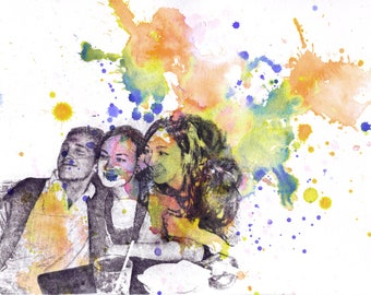 Custom Portrait Your Pictures turned into an Original Watercolor Painting Custom Portrait Painting Custom Family Portrait