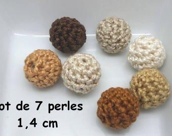7 beads (1.4 cm) brown color Mercerized cotton crochet